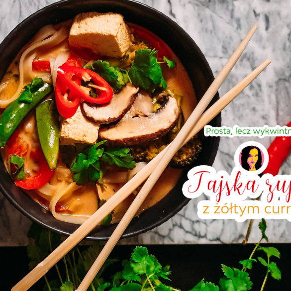 wegańska tajska zupa z żółtym curry